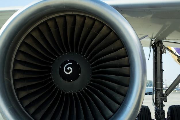Turbine des flugzeuges, nahaufnahme