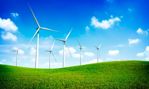Turbine-grünes energie-strom-technologie-konzept