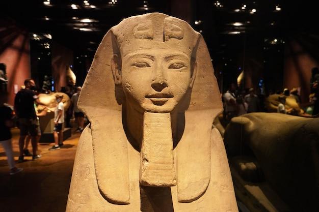 Turin, italien - 19. august 2021: frontalansicht der ägyptischen sphinx-statue im ägyptischen museum von turin, italien