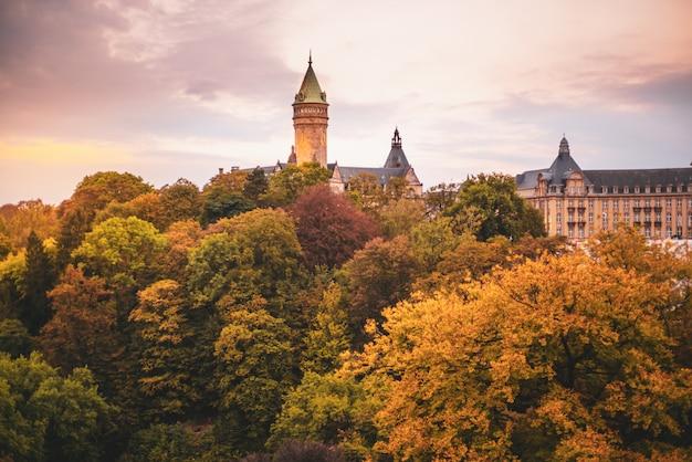 Turm der bank von luxemburg, umgeben von bäumen
