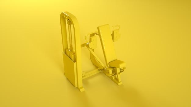 Turnhalle schmetterlingsmaschine auf gelb. 3d-rendering.