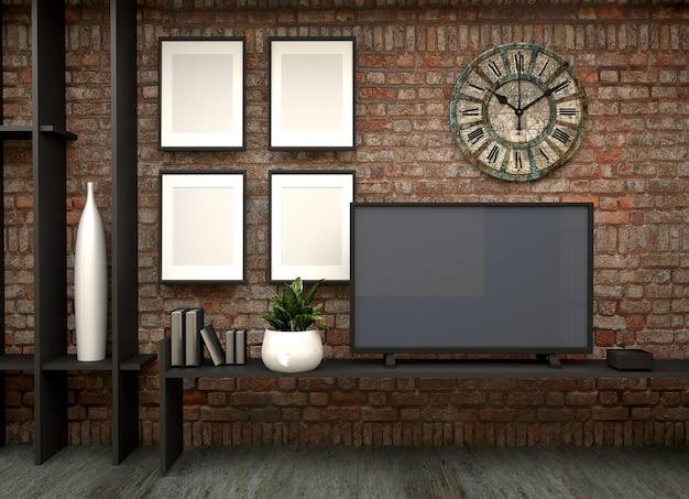 Tv an der wand im loft wohnzimmer. 3d-rendering