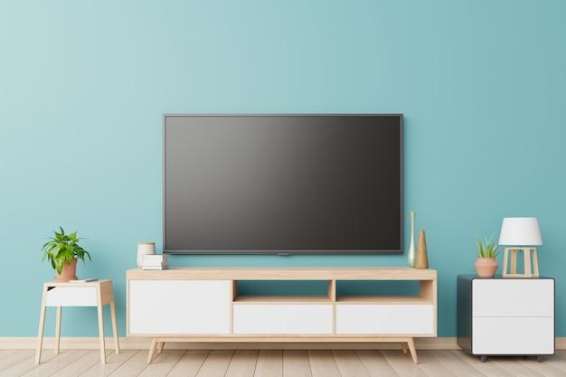 Tv im wohnzimmer und wand blau.