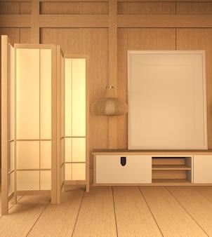 Tv-schrank aus holz in der idee modernen zen-raum-stil, minimale designs. 3d-rendering