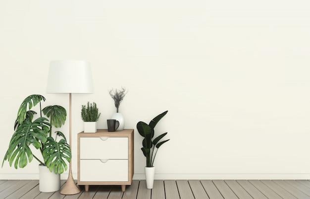 Tv-schrank im modernen, leeren raum im japanischen zen-stil mit minimalem design. 3d-rendering