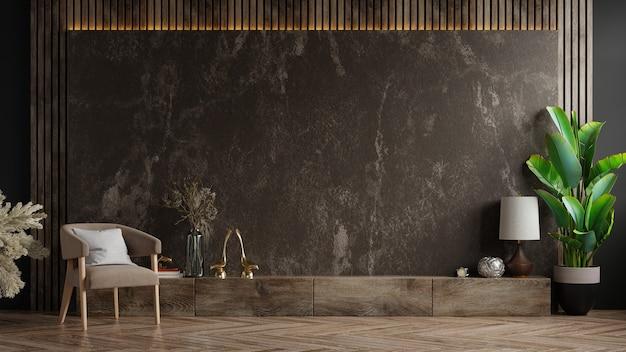 Tv-schrank im modernen wohnzimmer mit sessel und pflanze auf dunkler marmorwand, 3d-rendering