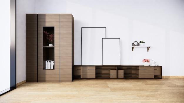 Tv-schrank im tropischen leeren raum im japanischen zen-stil, minimale designs. 3d-rendering