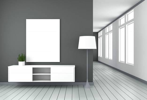 Tv-schrank in schwarzem modernem raum, minimalistisches design, zen-stil. 3d-rendering