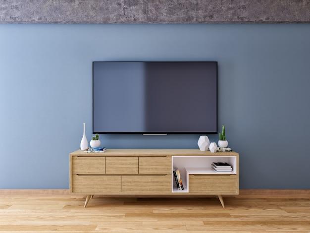 Tv-schrank, interieur vintage-raumgestaltung und gemütlicher wohnstil