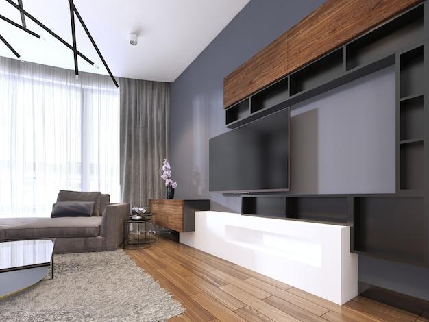 Tv-speicher mit regalen im modernen wohnzimmer mit großem ecksofa und couchtisch und teppich. 3d-rendering