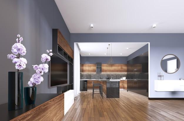 Tv-speicher mit vase im studio-apartment mit küche. wohnzimmer im zeitgenössischen stil. 3d-rendering