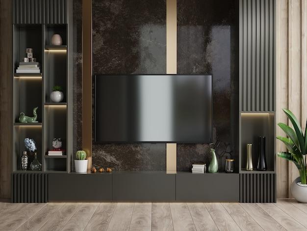 Tv-wand in einem dunklen raum mit einer dunklen marmorwand montiert.3d rendering