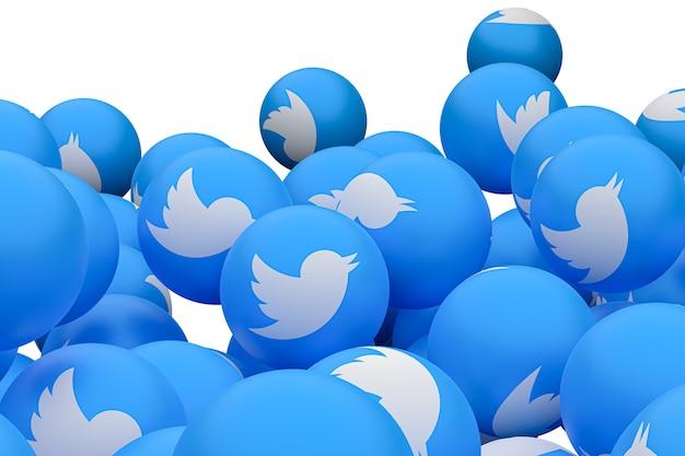 Twitter emoji 3d rendern hintergrund, social media ballon symbol