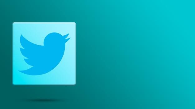 Twitter-logo auf 3d-plattform