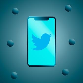 Twitter-logo auf dem 3d-rendering des telefonbildschirms