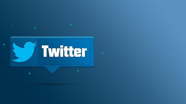 Twitter-logo auf sprechblase 3d