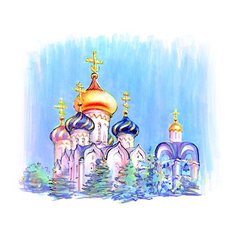 Typisch orthodoxes kirchengebäude. bild von markern gemacht
