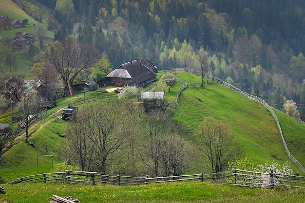 Typische landschaft der ukrainischen karpaten mit privatbesitz. holzhütten auf einem hügel mit frischen grünen bergwiesen im frühjahr. dorf in den bergen.