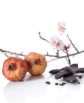 Typische mediterrane produkte: granatapfel, johannisbrot und mandelzweig