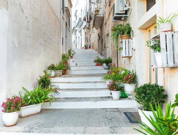 Typische schmale weiße straße mit stufen in der stadt ostuni. weiße stadt apulien, süditalien Premium Fotos