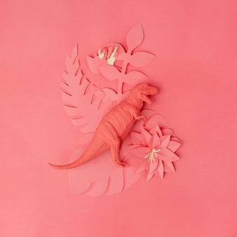 Tyrannosaurus dinosaurier spielzeug und origami papercraft blumen