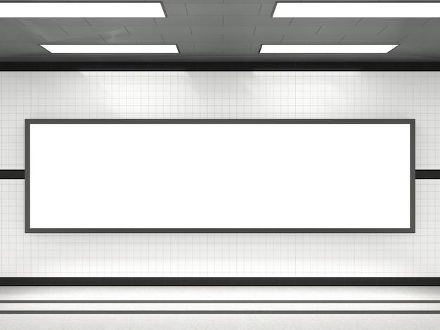 U-bahn mit leerem weißem annoncierendem großem anschlagtafelrahmen