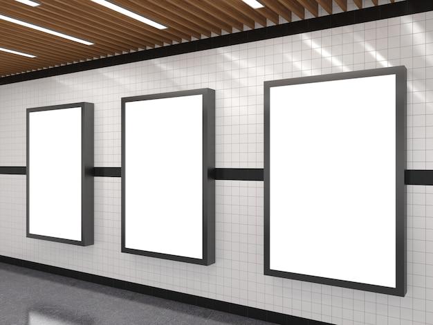U-bahn mit leerem weißem werbungslichtkastenrahmen
