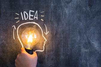 Übergeben Sie das Halten der belichteten Glühlampe mit dem Entwurfsgesicht, das auf Tafel mit Ideentext gezeichnet wird