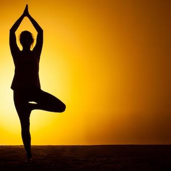 Übendes yoga der frau im sonnenunterganglicht