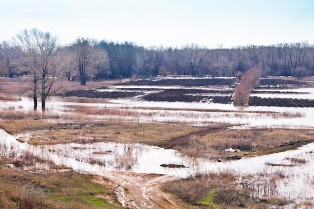 Überflutete felder. frühlingshochwasser