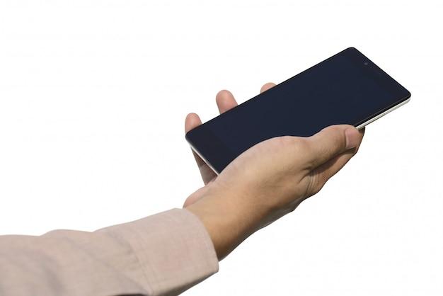 Übergeben sie das halten des mobiltelefons mit dem leeren bildschirm, der über weißem hintergrund lokalisiert wird