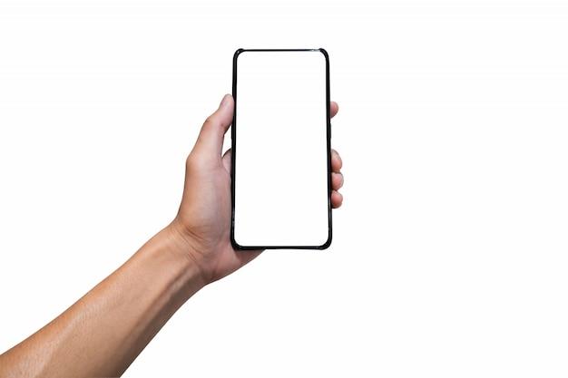 Übergeben sie das halten des schwarzen smartphone mit einem leeren weißen schirm.