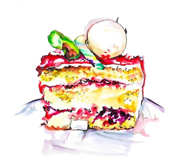 Übergeben sie gezogene aquarellscheibe der sahnigen torte mit blumen, lokalisierte kuchenillustration auf weiß
