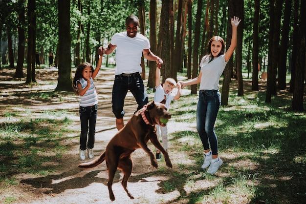 Überglückliche familie springt in park spielerisches labrador.