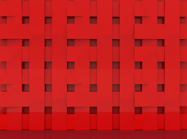 Überlagerte rote platten im quadratischen formmuster-wandhintergrund.
