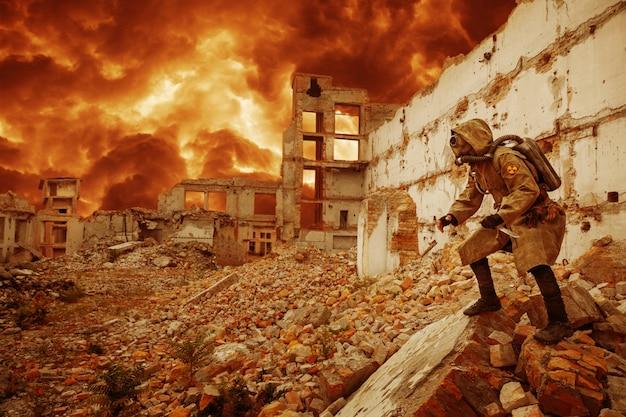 Überlebender der nuklearen apokalypse