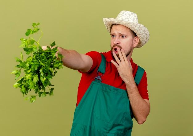 Überraschte junge hübsche slawische gärtnerin in der uniform und im hut, die koriander ausdehnend betrachten, der seite hält, die hand auf mund lokalisiert auf olivgrüner wand mit kopienraum hält
