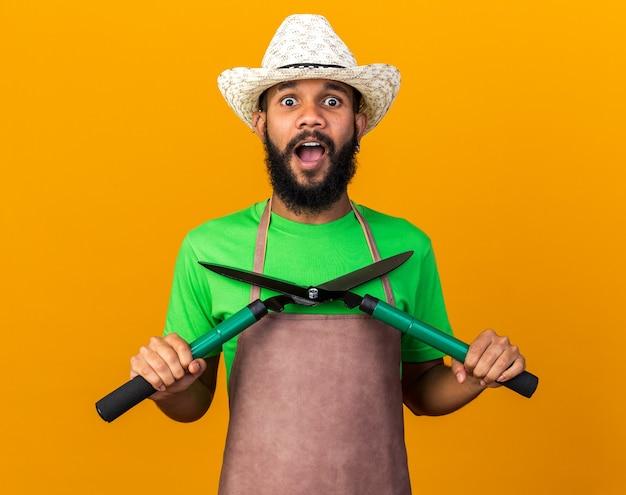 Überraschter junger gärtner afroamerikanischer mann mit gartenhut, der klipper isoliert auf oranger wand hält