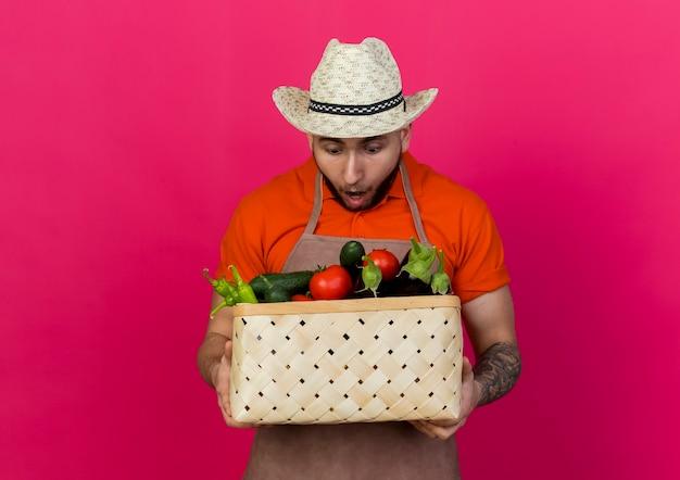 Überraschter männlicher gärtner, der gartenhut trägt, hält und betrachtet gemüsekorb