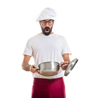 Überraschung chef blick in topf