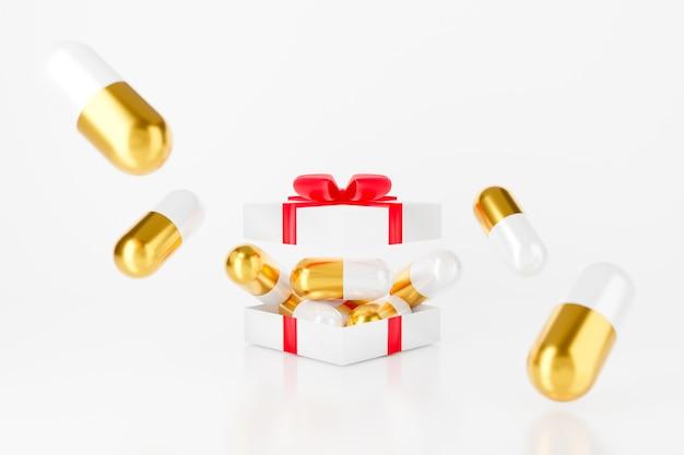 Überraschung in offener geschenkbox mit kapselpille.