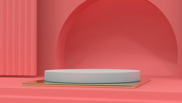 Übertragen sie bild der abstrakten rosa farbgeometrischen podiumanzeige oder -schaukasten
