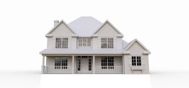 Übertragen sie von einem klassischen amerikanischen landhaus. 3d-rendering.