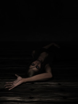 Übertragen von einem weiblichen 3d mit ausgestrecktem arm in angst mit auf dem boden
