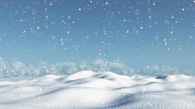 Übertragen von einer verschneiten landschaft 3d