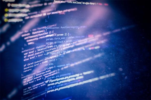 Überwachen sie die nahaufnahme des funktionsquellcodes. schreiben von programmierfunktionen auf dem laptop. big data und internet der dinge sind im trend.
