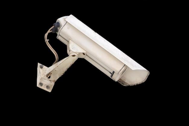 Überwachungskamera auf schwarzem hintergrund isoliert
