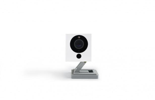 Überwachungskamera der sicherheit, die ich auf weißem beschneidungspfad lokalisierte