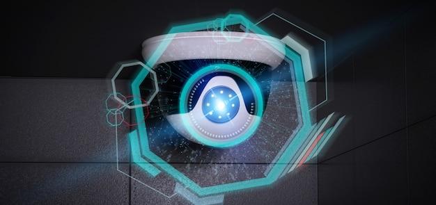 Überwachungskamera, die eine erkannte störung anvisiert - 3d renderinga