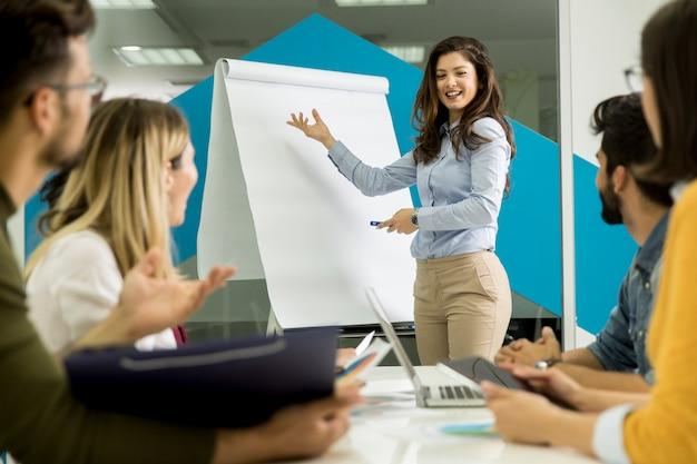 Überzeugter junger teamleiter, der einer gruppe jungen kollegen eine präsentation gibt, während sie gruppiert durch die flip-chart im büro sitzen